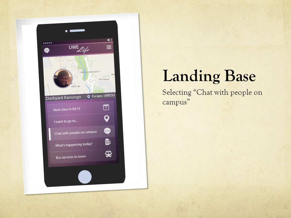"""Landing Base Selecting """"Chat with people on campus"""""""