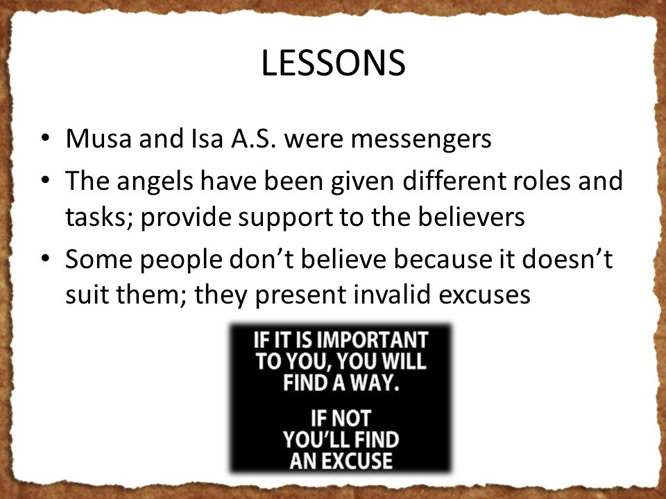 LESSONS Musa and Isa A.S.