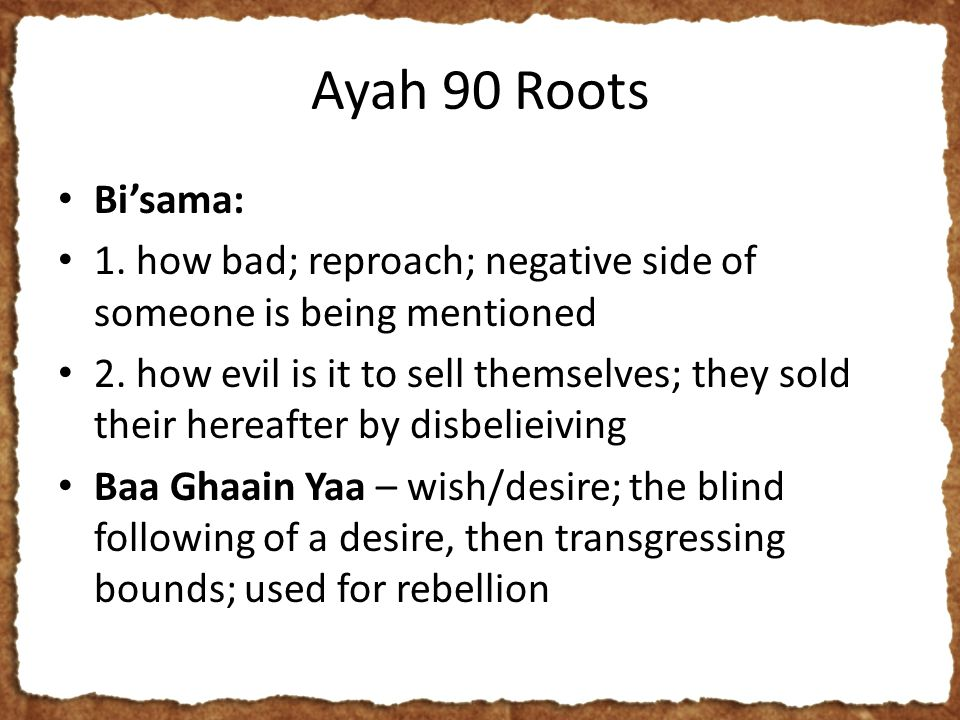 Ayah 90 Roots Bi'sama: 1. how bad; reproach; negative side of someone is being mentioned 2.