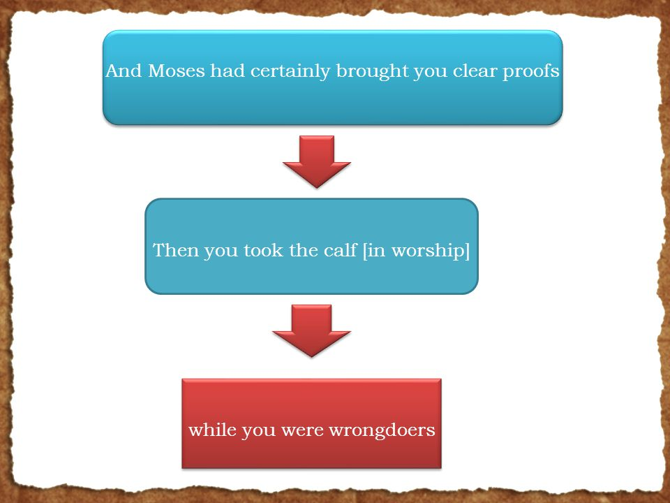 And Moses had certainly brought you clear proofs Then you took the calf [in worship] while you were wrongdoers