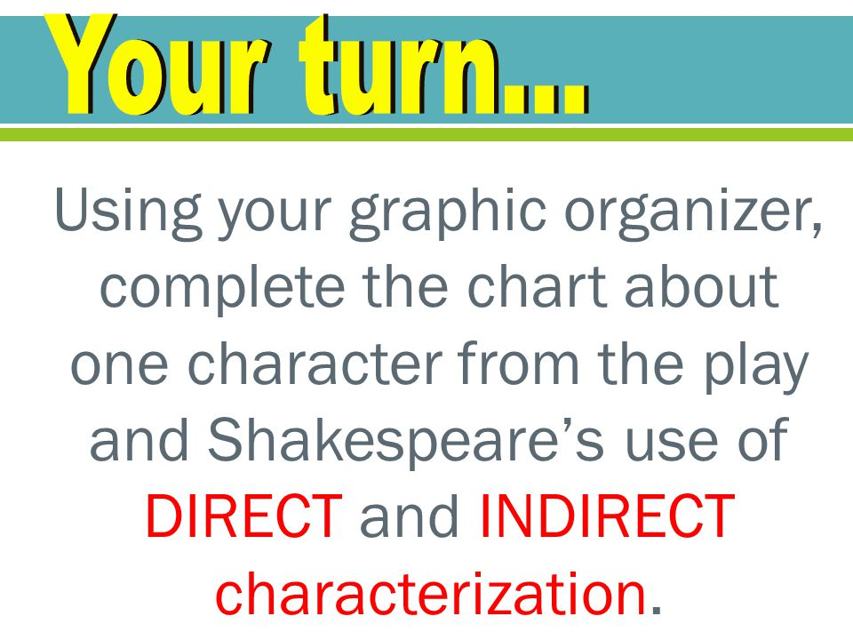 Using your graphic organizer, complete the chart about one character from the play and Shakespeare's use of DIRECT and INDIRECT characterization.