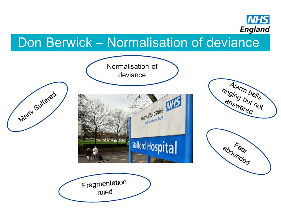 Don Berwick – Normalisation of deviance Alarm bells ringing but not answered Many Suffered Fear abounded Fragmentation ruled Normalisation of deviance