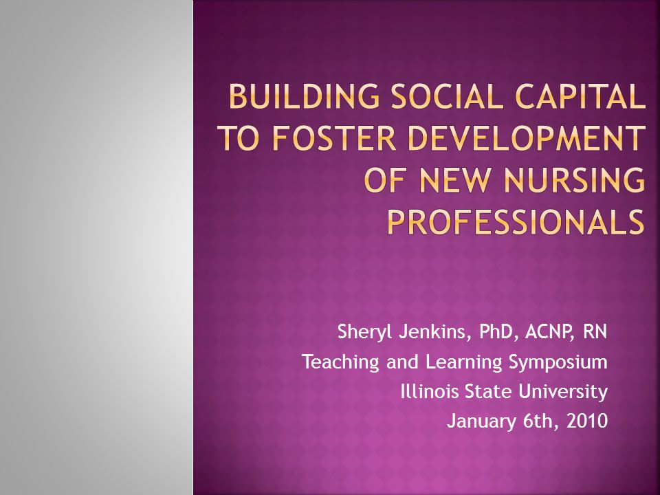 Sheryl Jenkins, PhD, ACNP, RN Teaching and Learning Symposium Illinois State University January 6th, 2010