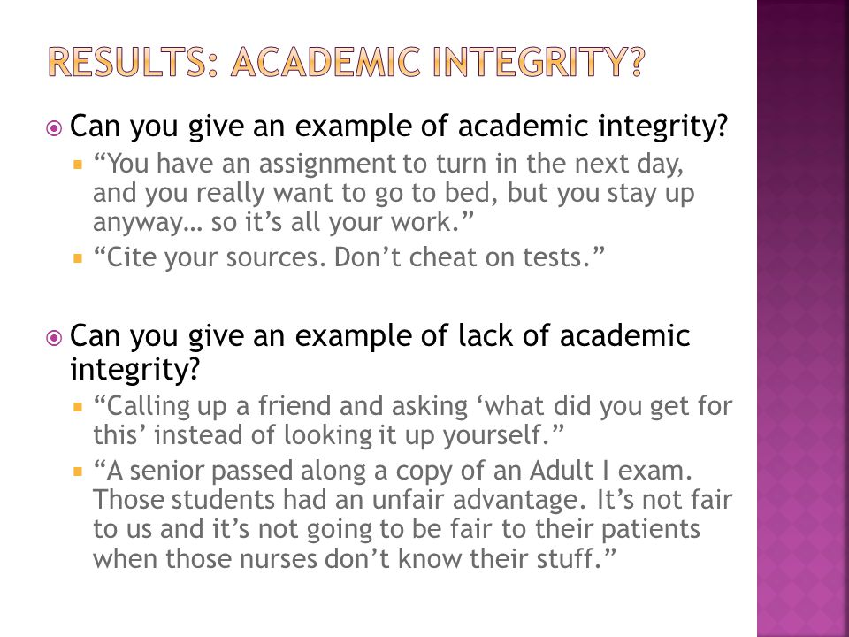  Can you give an example of academic integrity.