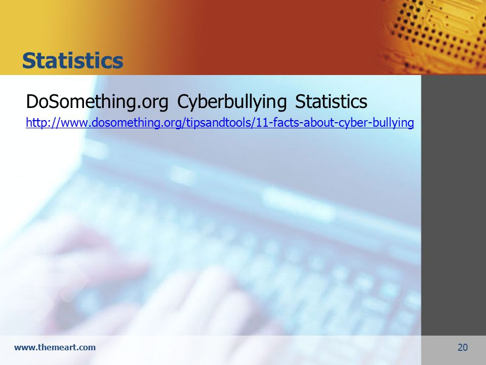 20 www.themeart.com Statistics DoSomething.org Cyberbullying Statistics http://www.dosomething.org/tipsandtools/11-facts-about-cyber-bullying