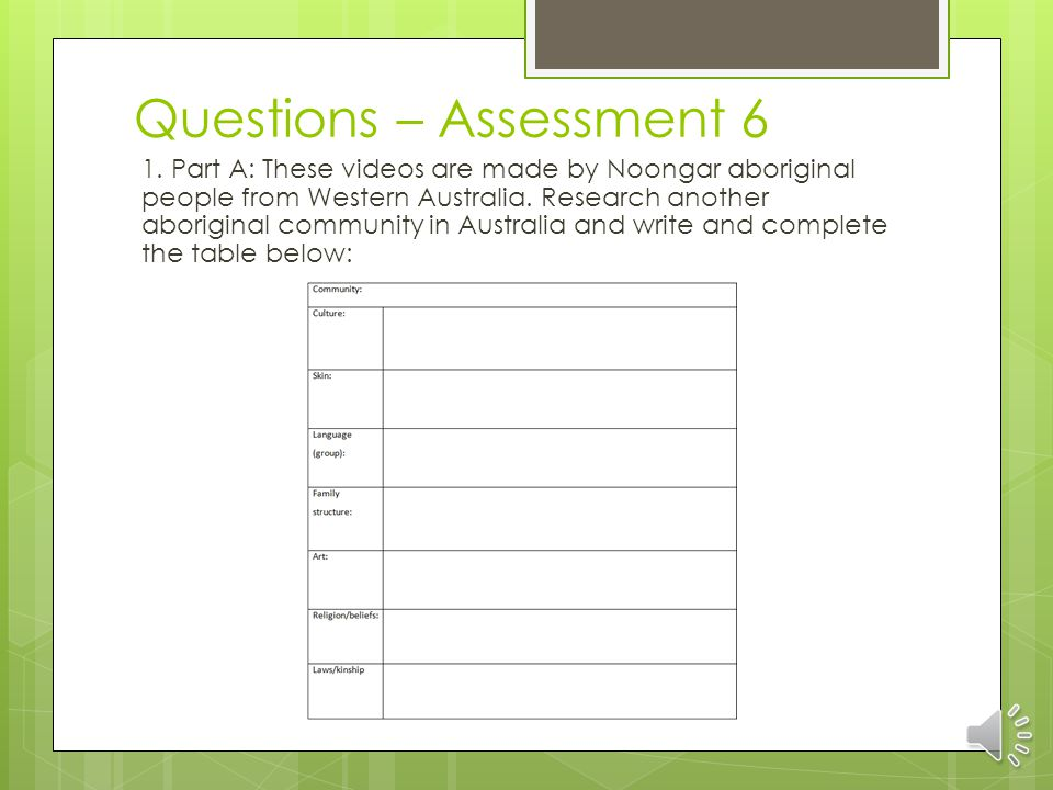 Education Support Assessment 6 Hints and tips