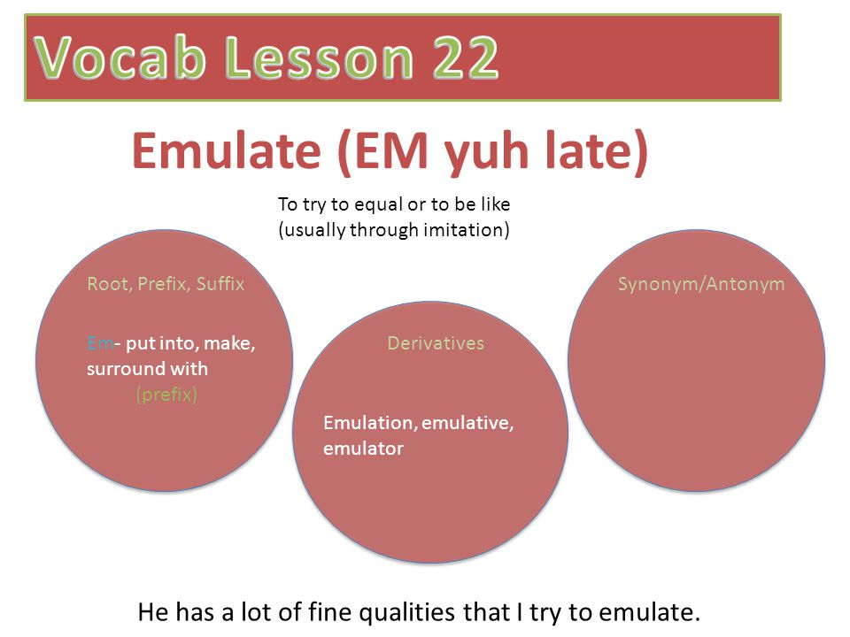 Emulate (EM yuh late) To try to equal or to be like (usually through imitation) Em- put into, make, surround with (prefix) Root, Prefix, SuffixSynonym/Antonym Derivatives Emulation, emulative, emulator He has a lot of fine qualities that I try to emulate.