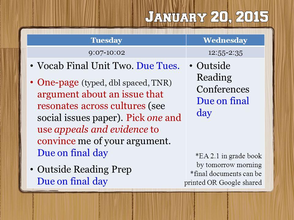 Two Class periods Left TuesdayWednesday 9:07-10:0212:55-2:35 Vocab Final Unit Two.