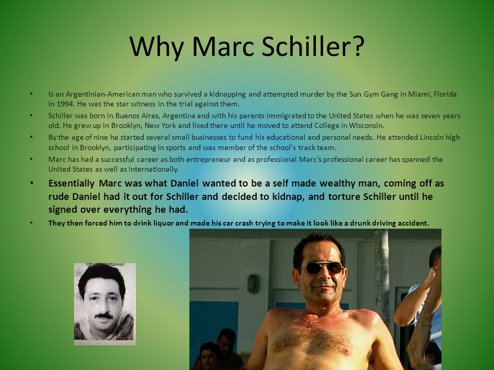 Why Marc Schiller? Is an Argentinian-American man who survived a kidnapping and attempted murder by the Sun Gym Gang in Miami, Florida in 1994. He was