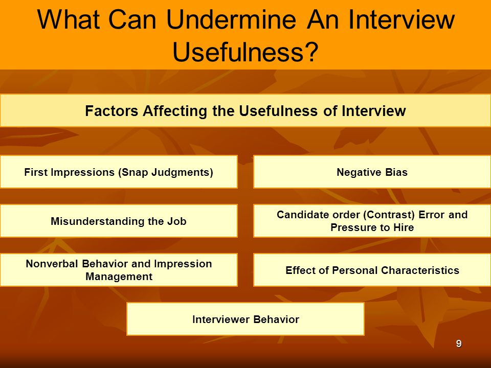 9 What Can Undermine An Interview Usefulness? Factors Affecting the Usefulness of Interview First Impressions (Snap Judgments)Negative Bias Misunderst