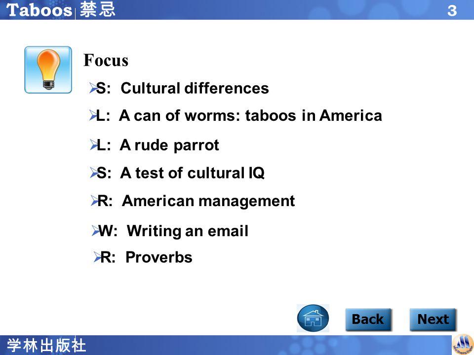 学林出版社 3 Focus1 content BackNext  S: Cultural differences S: Cultural differences  L: A can of worms: taboos in America L: A can of worms: taboos in America  L: A rude parrot L: A rude parrot  S: A test of cultural IQ S: A test of cultural IQ  R: American management R: American management  W: Writing an email W: Writing an email Taboos 禁忌 Focus  R: Proverbs R: Proverbs