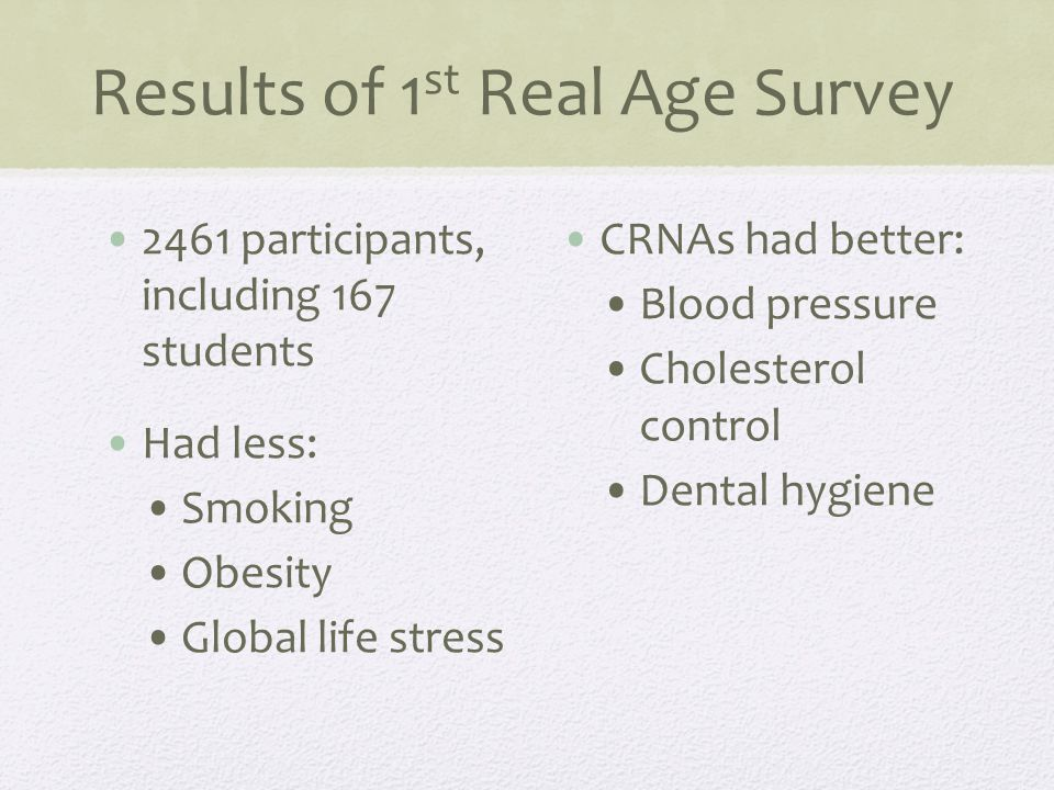 Results of 1 st Real Age Survey CRNAs do tend to have more: Migraines Moderate to severe indigestion Sleep disorders Depression and mental illness High alcohol consumption