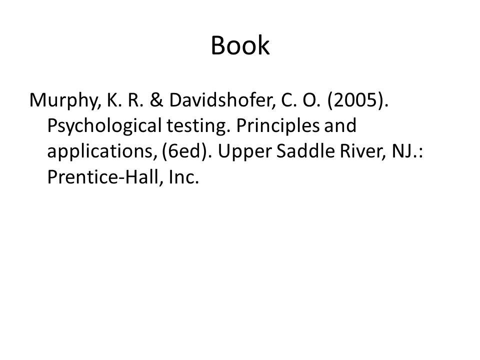 Book Murphy, K. R. & Davidshofer, C. O. (2005).