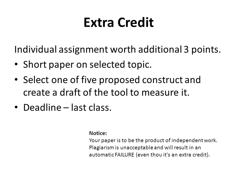Extra Credit Individual assignment worth additional 3 points.
