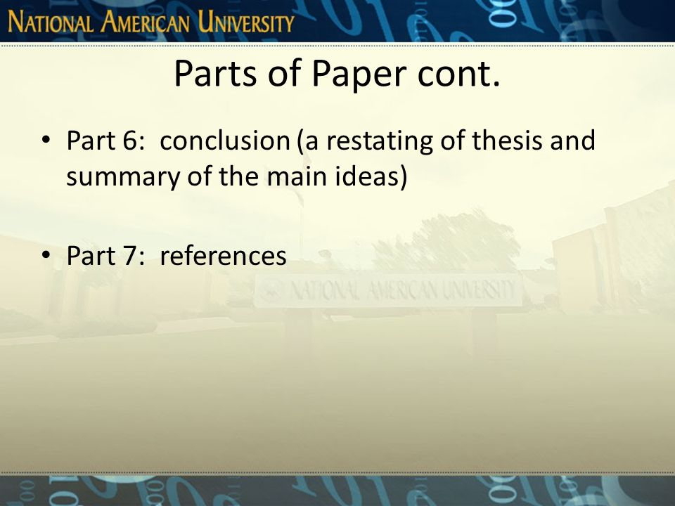 Parts of Paper cont.