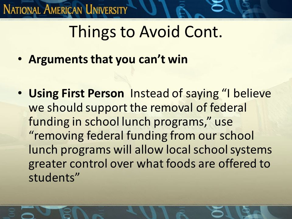 Things to Avoid Cont. Hasty generalizations (...