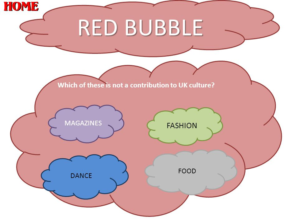 RED BUBBLE Which of these is not a contribution to UK culture? MAGAZINES FASHION DANCE FOOD