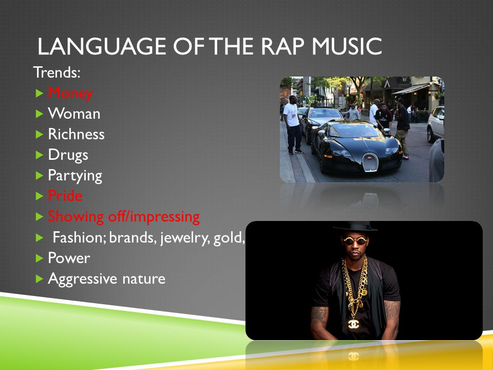 RAP MUSIC  Rap music has got its own 'Subculture' over the years artists have made this type of music almost as a lifestyle and that is why we can refer to it as a Subculture.