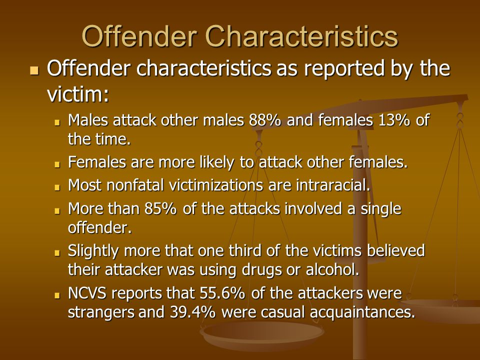 Offender Characteristics Offender characteristics as reported by the victim: Offender characteristics as reported by the victim: Males attack other males 88% and females 13% of the time.
