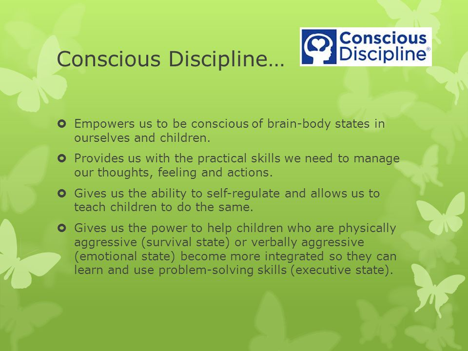 Conscious Discipline…  Empowers us to be conscious of brain-body states in ourselves and children.