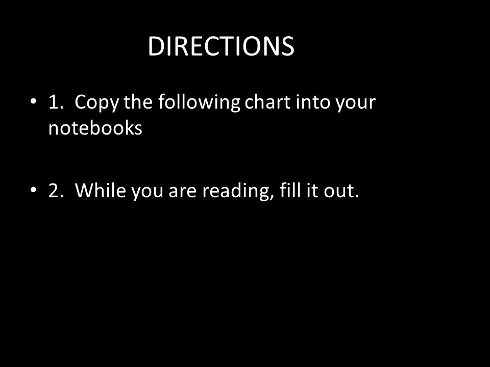 DIRECTIONS 1. Copy the following chart into your notebooks 2. While you are reading, fill it out.