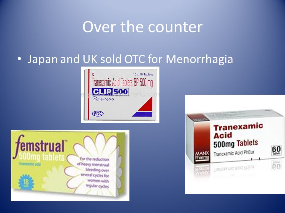 Over the counter Japan and UK sold OTC for Menorrhagia