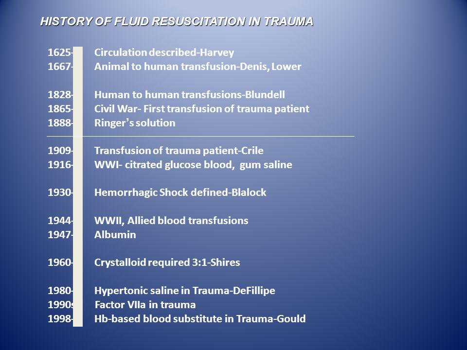 1625-Circulation described-Harvey 1667-Animal to human transfusion-Denis, Lower 1828-Human to human transfusions-Blundell 1865-Civil War- First transfusion of trauma patient 1888-Ringer ' s solution 1909-Transfusion of trauma patient-Crile 1916-WWI- citrated glucose blood, gum saline 1930-Hemorrhagic Shock defined-Blalock 1944-WWII, Allied blood transfusions 1947-Albumin 1960-Crystalloid required 3:1-Shires 1980-Hypertonic saline in Trauma-DeFillipe 1990s Factor VIIa in trauma 1998-Hb-based blood substitute in Trauma-Gould HISTORY OF FLUID RESUSCITATION IN TRAUMA