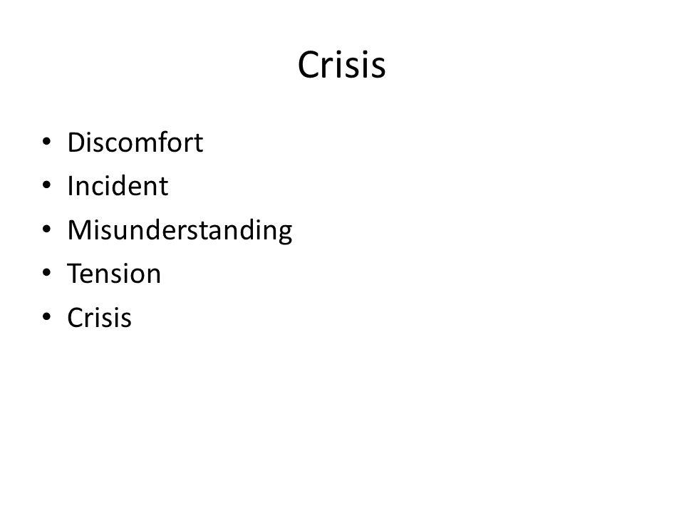 Crisis Discomfort Incident Misunderstanding Tension Crisis
