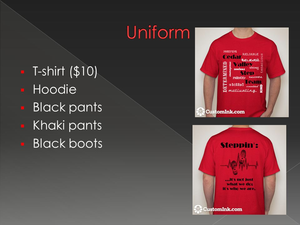  T-shirt ($10)  Hoodie  Black pants  Khaki pants  Black boots