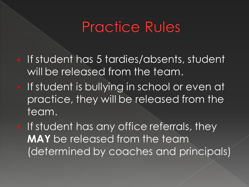  If student has 5 tardies/absents, student will be released from the team.