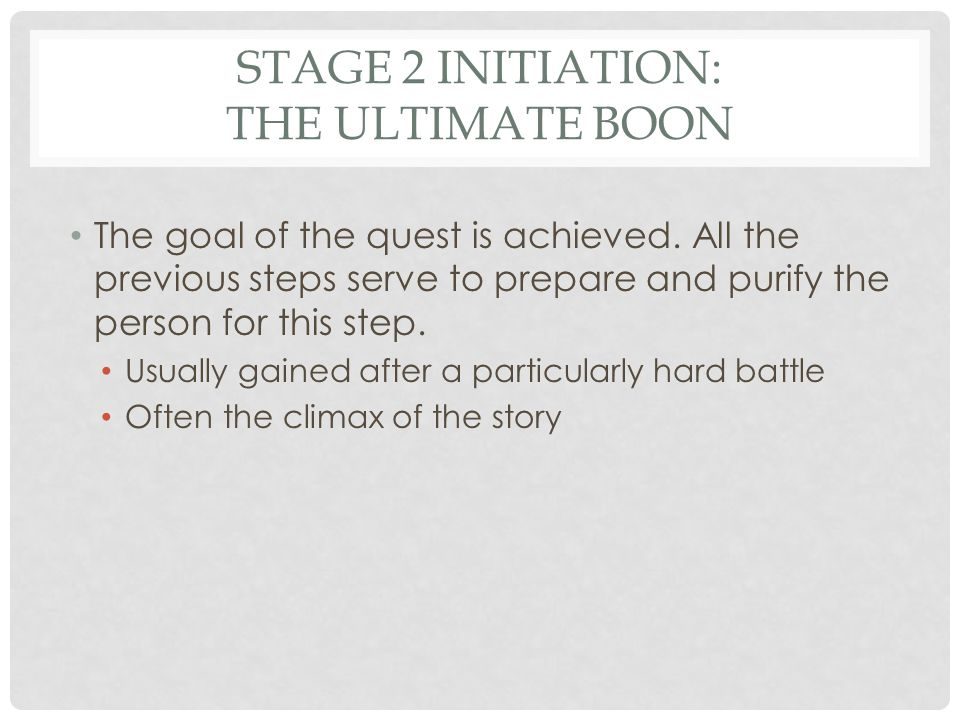 STAGE 2 INITIATION: THE ULTIMATE BOON The One Ring is destroyed!The Avengers defeat the enemy!