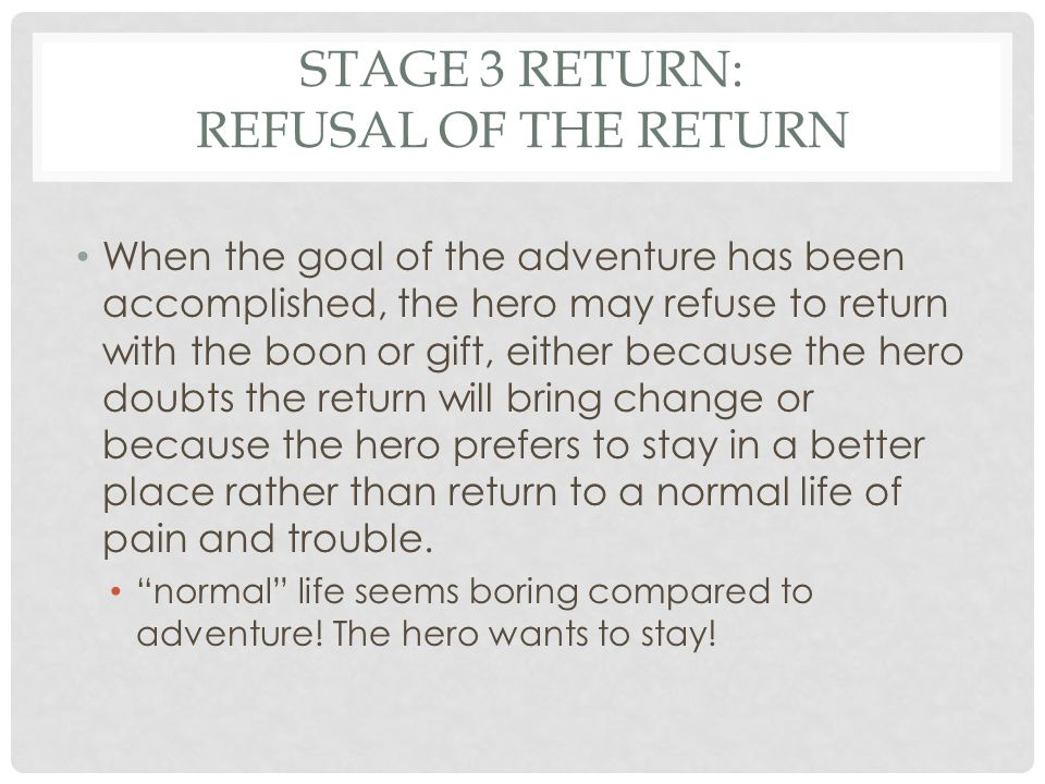 STAGE 3 RETURN: REFUSAL OF THE RETURN Frodo wants to give up after getting rid of the One Ring.