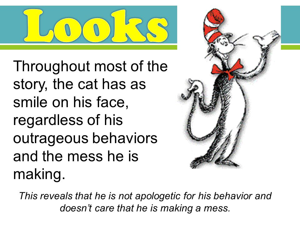 Throughout most of the story, the cat has as smile on his face, regardless of his outrageous behaviors and the mess he is making.