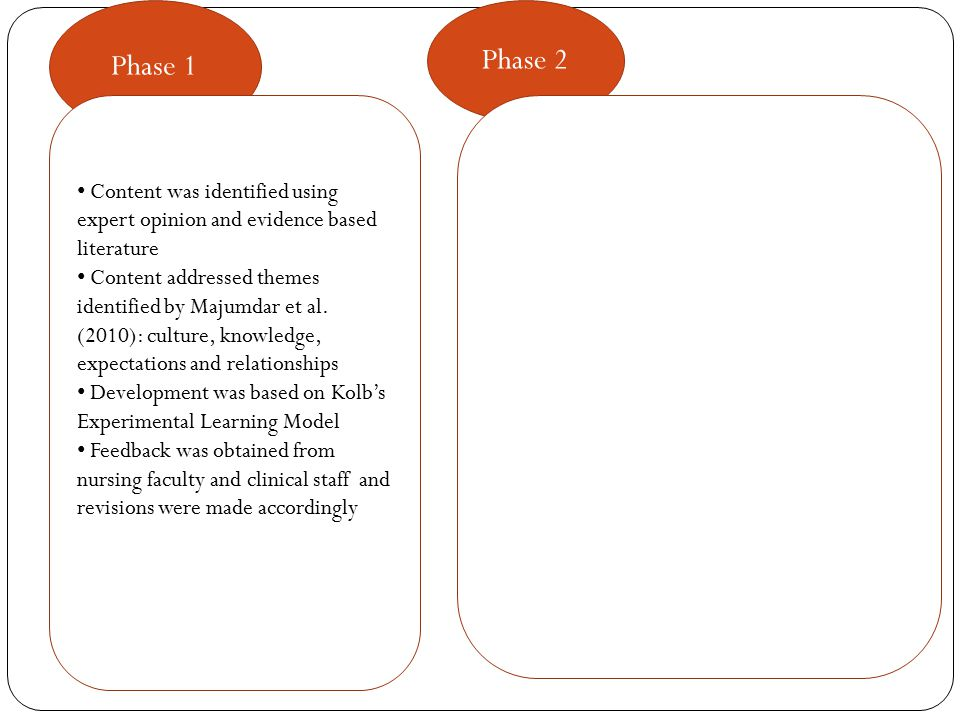 Phase 1 Phase 2 Content was identified using expert opinion and evidence based literature Content addressed themes identified by Majumdar et al.