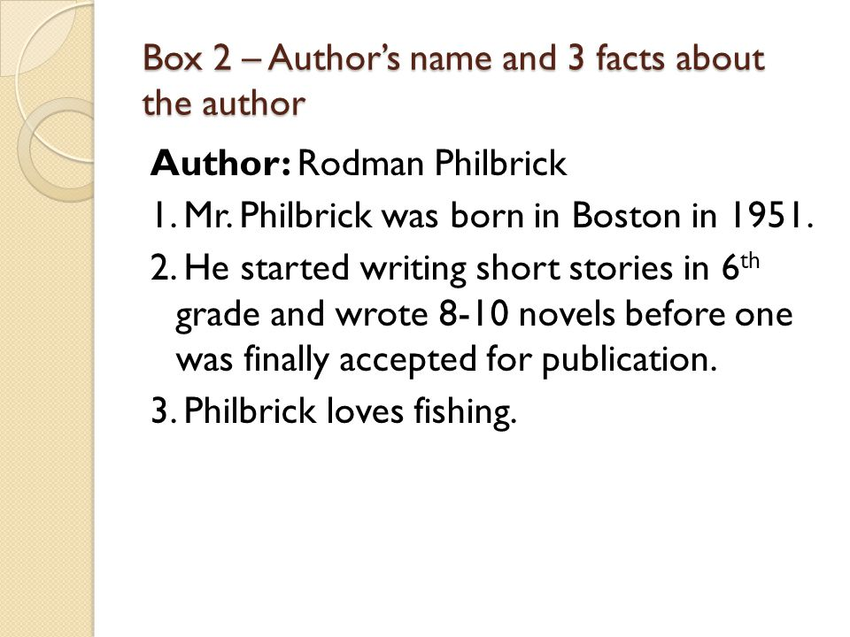 Box 2 – Author's name and 3 facts about the author Author: Rodman Philbrick 1. Mr. Philbrick was born in Boston in 1951. 2. He started writing short s