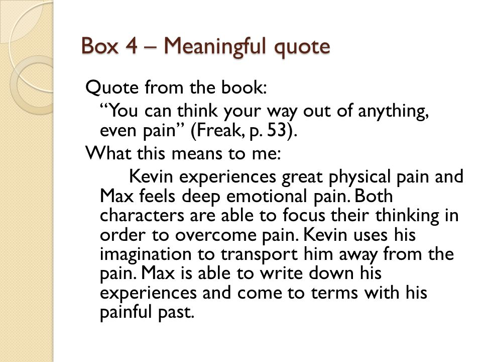 Box 15 – Figurative Language Quote from the book: Television, the opiate of the massives (p.19).
