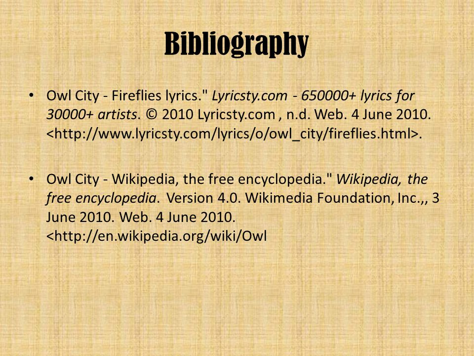 Bibliography Owl City - Fireflies lyrics. Lyricsty.com - 650000+ lyrics for 30000+ artists.