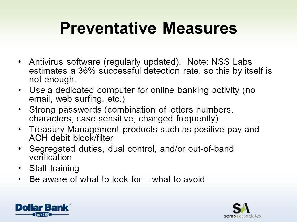 Preventative Measures Antivirus software (regularly updated).