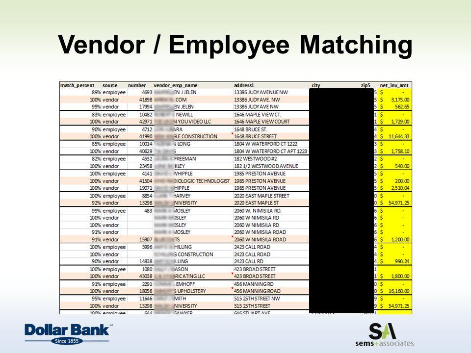 Vendor / Employee Matching