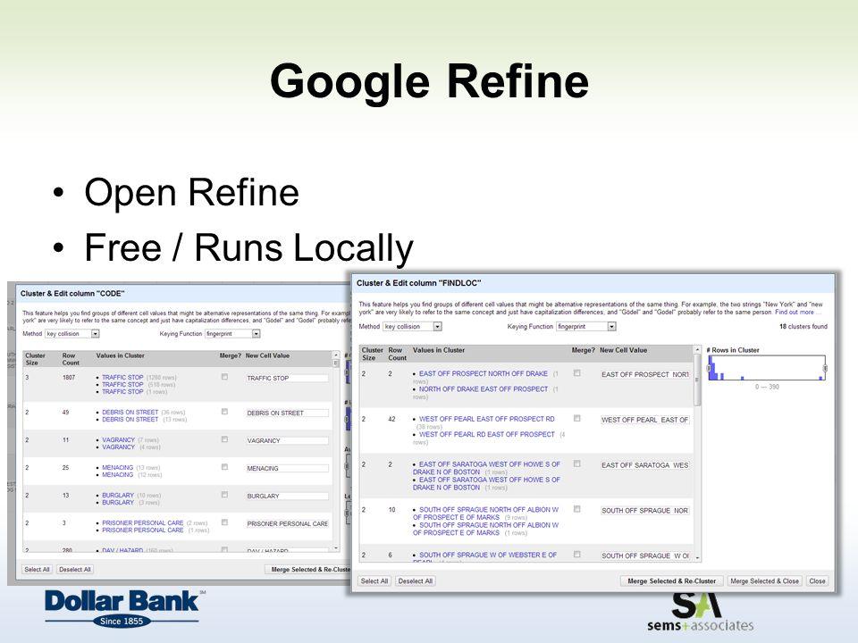 Google Refine Open Refine Free / Runs Locally