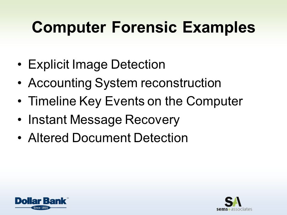 Computer Forensic Examples Explicit Image Detection Accounting System reconstruction Timeline Key Events on the Computer Instant Message Recovery Altered Document Detection