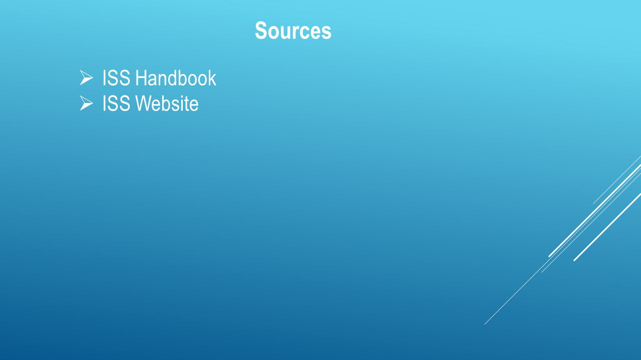 Sources  ISS Handbook  ISS Website