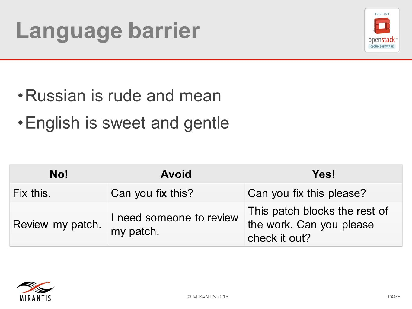 © MIRANTIS 2013PAGE Language barrier Russian is rude and mean English is sweet and gentle
