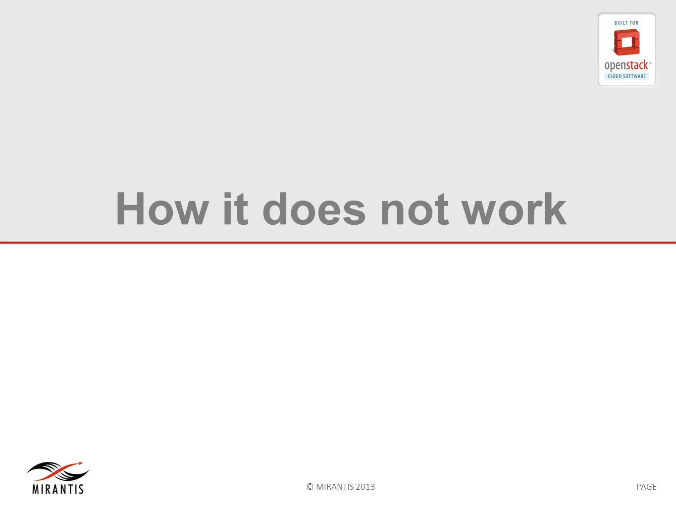 © MIRANTIS 2013PAGE How it does not work