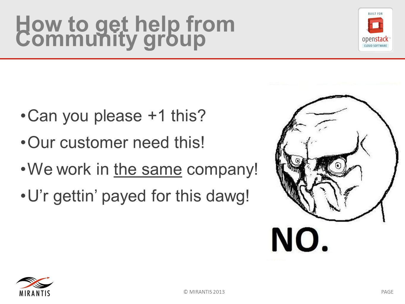 © MIRANTIS 2013PAGE How to get help from Community group Can you please +1 this.