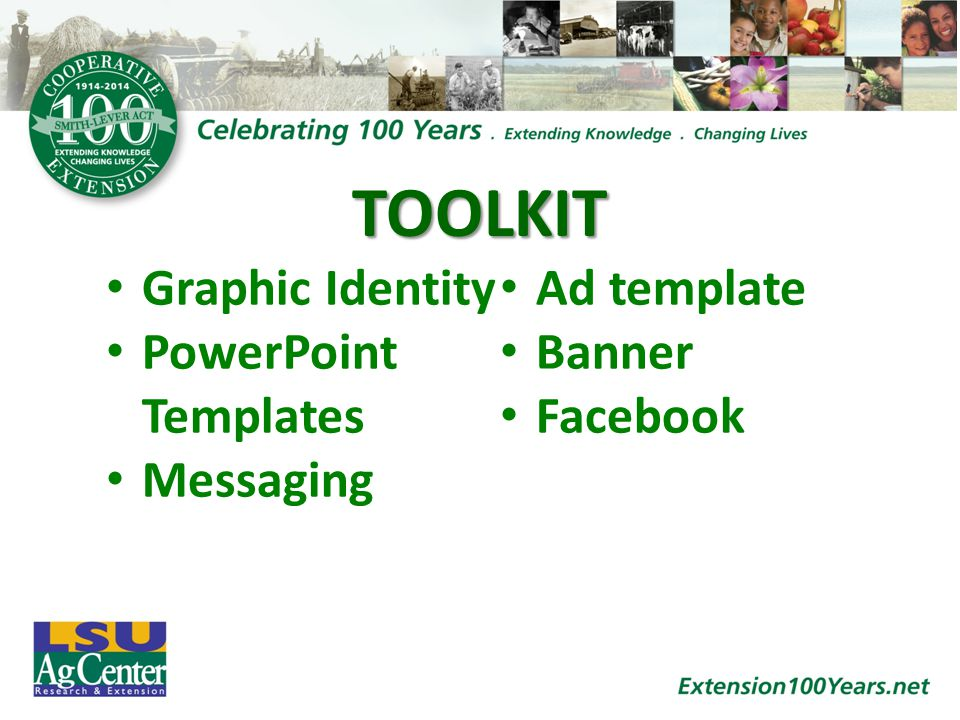 TOOLKIT Graphic Identity PowerPoint Templates Messaging Ad template Banner Facebook