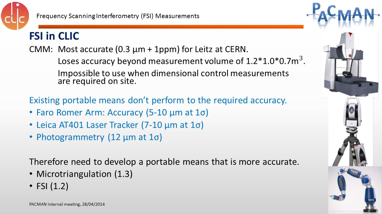 Frequency Scanning Interferometry (FSI) Measurements PACMAN internal meeting, 28/04/2014