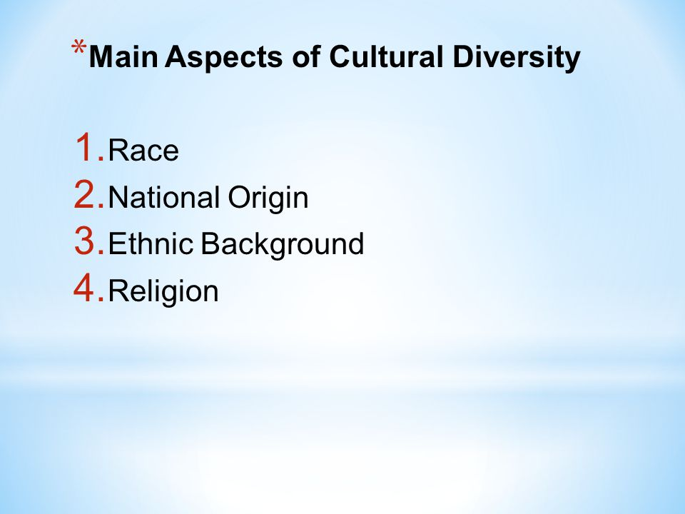 * Race Several generations of Americans are comprised of many races.