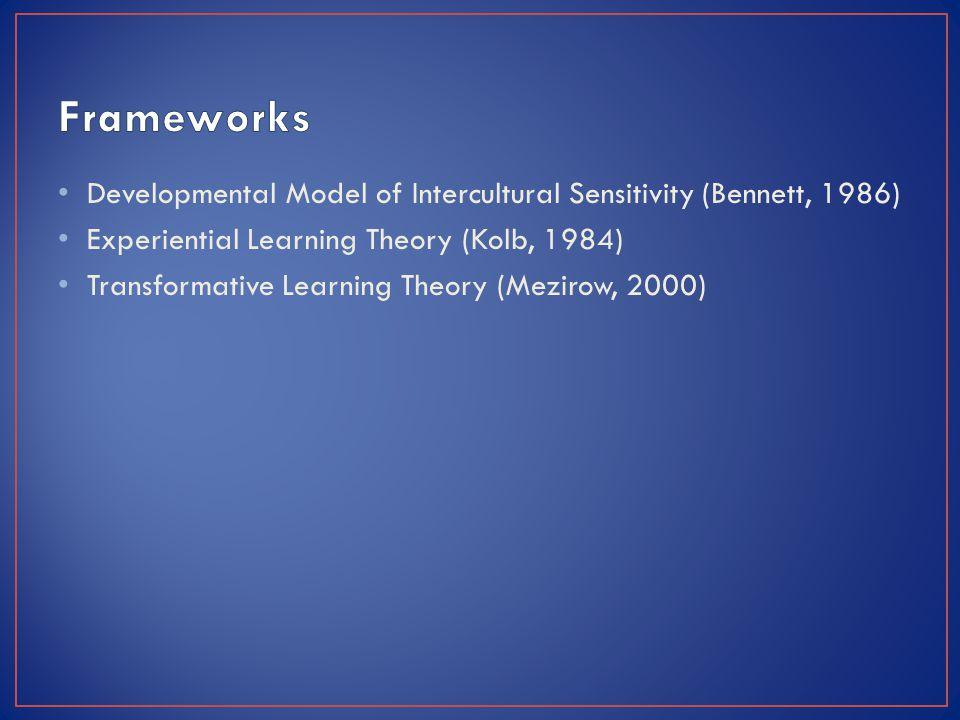 Developmental Model of Intercultural Sensitivity (Bennett, 1986) Experiential Learning Theory (Kolb, 1984) Transformative Learning Theory (Mezirow, 2000)