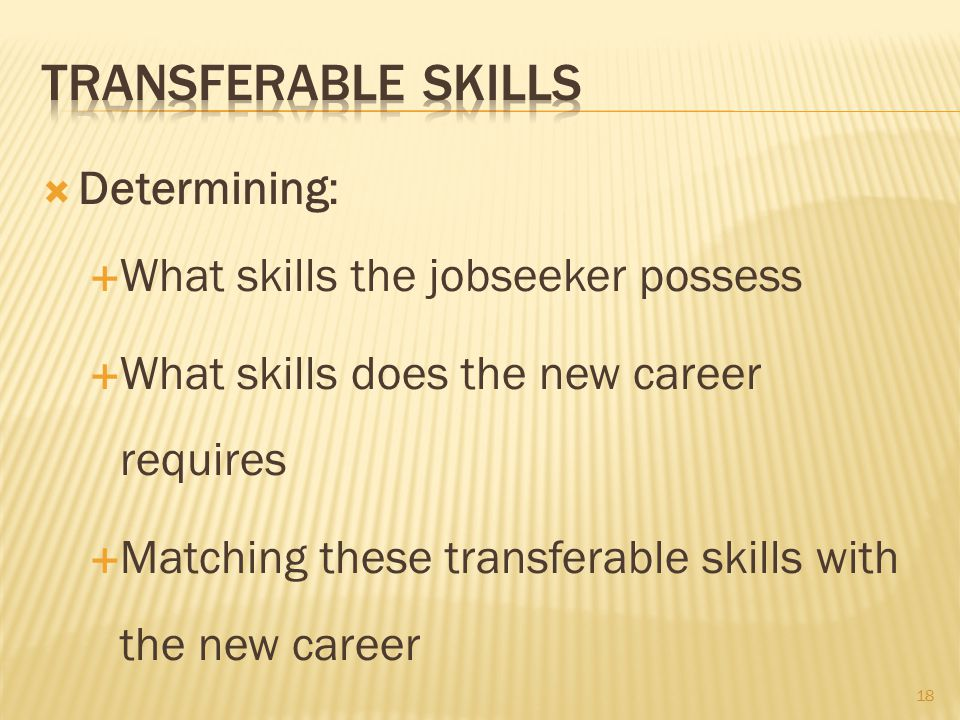  Determining:  What skills the jobseeker possess  What skills does the new career requires  Matching these transferable skills with the new career 18